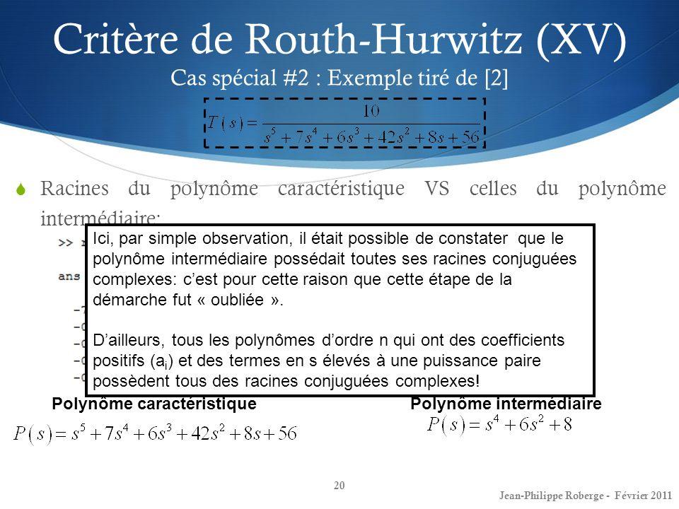 Critère de Routh-Hurwitz (XV) Cas spécial #2 : Exemple tiré de [2]